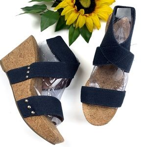 Lucky Brand Sandal Marinah Cork Wedge Navy